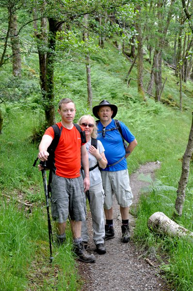 A family walking the West Highland Way