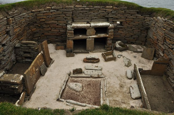 A stone age dwelling, minus the roof, at Skara Brae, mainland Isle of Orkney