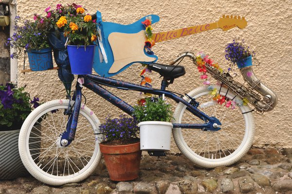 Children enjoy finding the flower bedecked bicycles