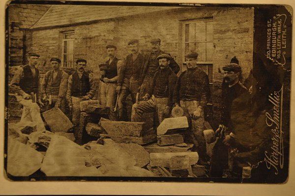 Caithness flagstone workers pose for a photograph