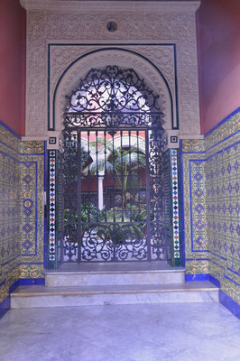 Tiled courtyard entrance of a private house.
