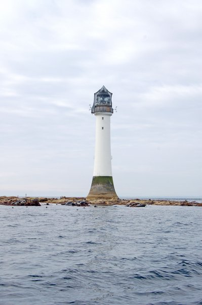 The rock that the Bell Rock Lighthouse stands on is covered with each incoming tide