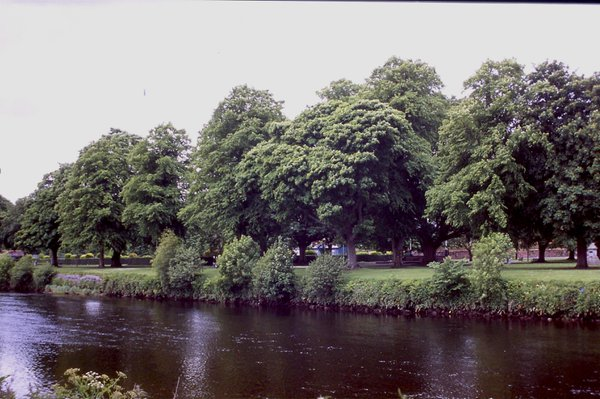 Dock Park borders the River Nith in Dumfries