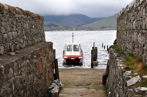 Ferry from Lamlash, Isle of Arran, arriving at Holy Isle