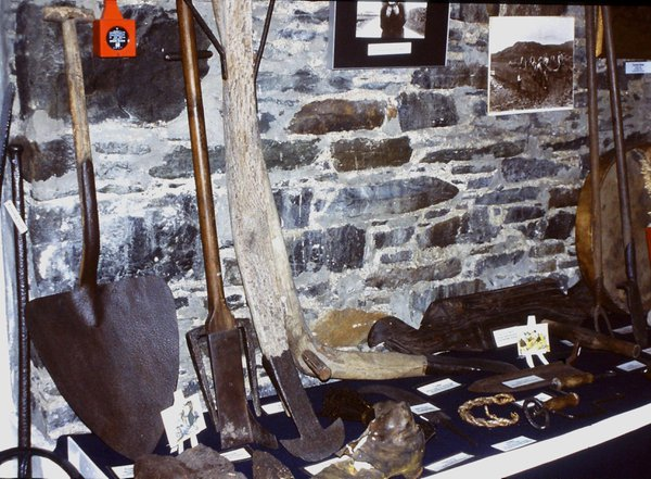 Implements for cutting peat are among the items on display in the Museum of Island Life, Islay