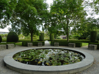 Lily Pond and carved stones from Dublin in Kilkenny Design Centre garden