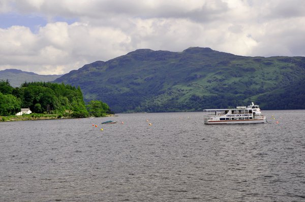 Loch Lomond cruise boat at anchor