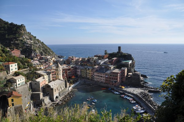 A view of Vernazza from the coastal path