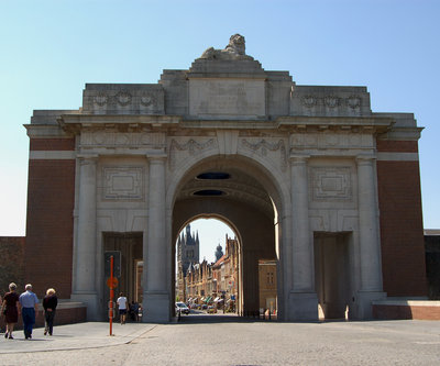 Looking west through the Menin Gate to the city of Ypres