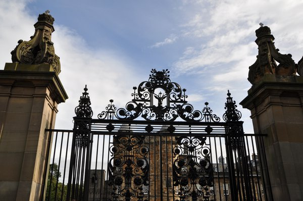 The main gate of Holyroodhouse Palace has a deer symbol in the ironwork