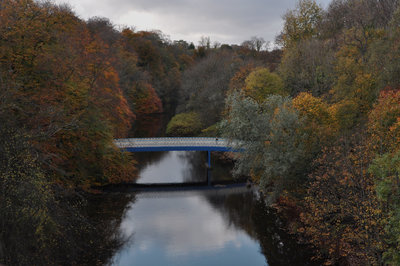 Newly painted bridge viewed from Queen Margaret Drive