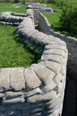 Preserved trench defences in Flanders Fields