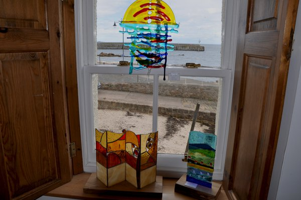 Glass art work on display