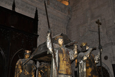 Seville Cathedral contains the sepulchre of Christopher Columbus