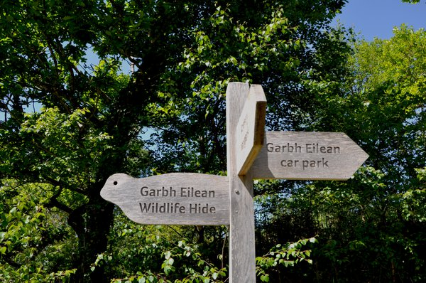 A Forestry Commission sign post gives directions to a wildlife hide