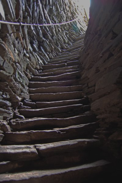 Stairs were built between the walls of Mousa Broch