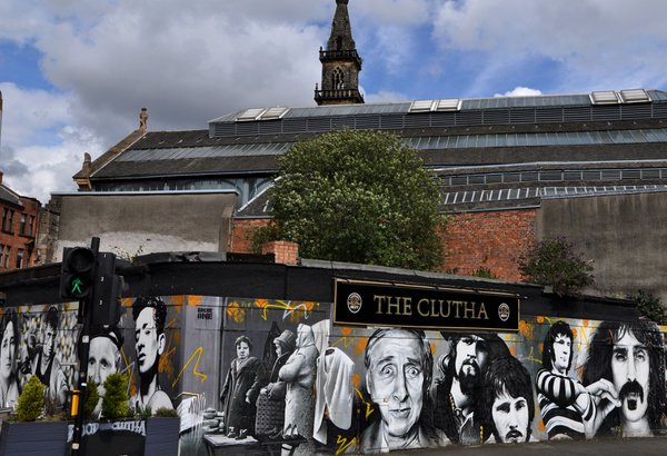 This mural features personalities who have had a drink in The Clutha Pub