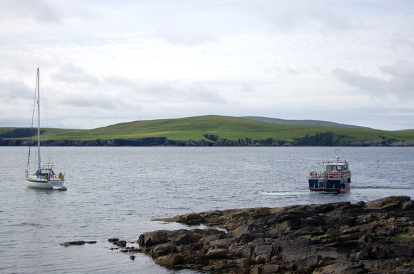The ferry returning from the Isle of Mousa to mainland Shetland