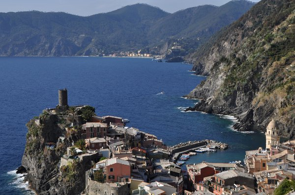 A view of Vernazza and out to sea from the coastal path.