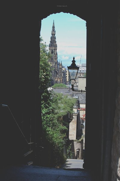 Looking north down a Royal Mile close to the Sir Walter Scott Monument