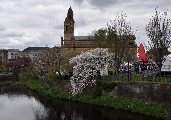 A river runs beside the site of Paisley Food Festival