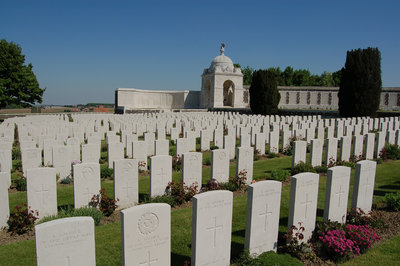 White gravestones marking the graves of soldiers killed here in battle