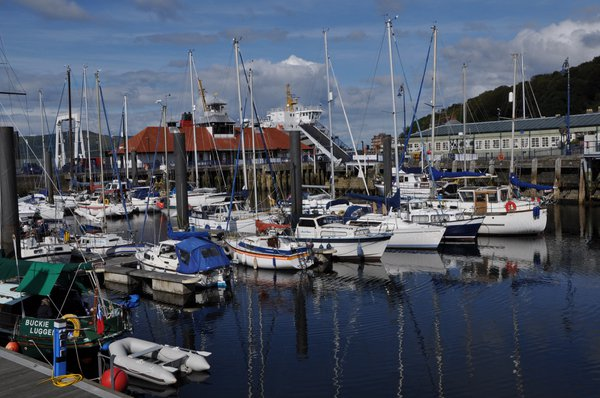 Rothesay Marina is behind the quay where the Cal Mac Ferry docks
